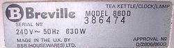 Breville 860D serial number