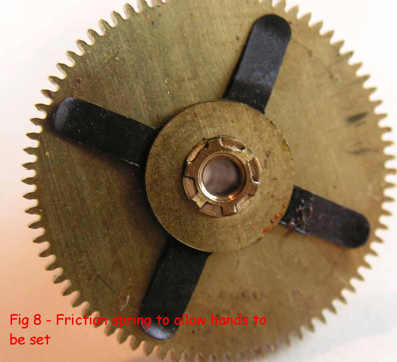 Fig 8 - friction spring allows hands to be set