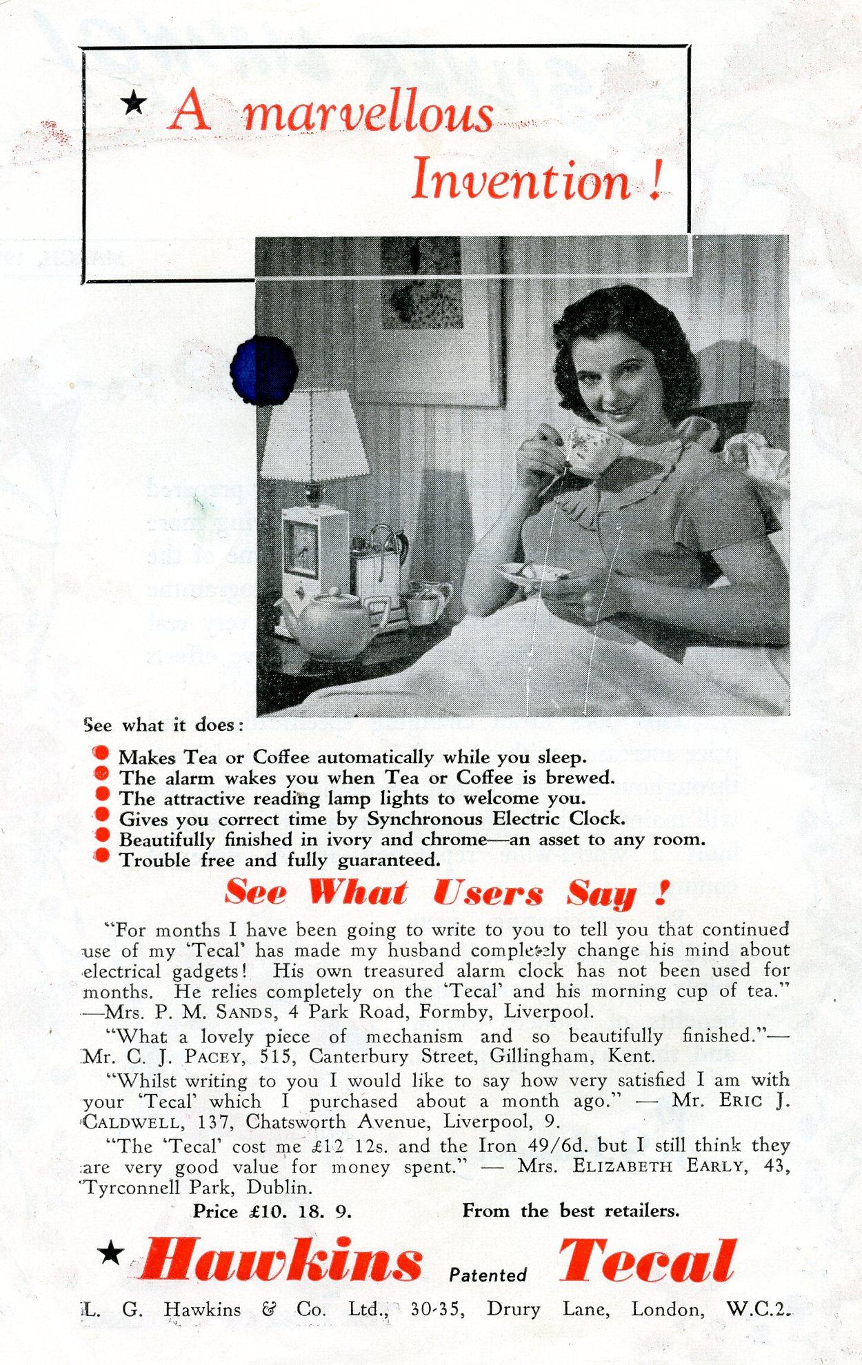 Hawkins Tecal 1200 advert Silver Lining Mar 1951