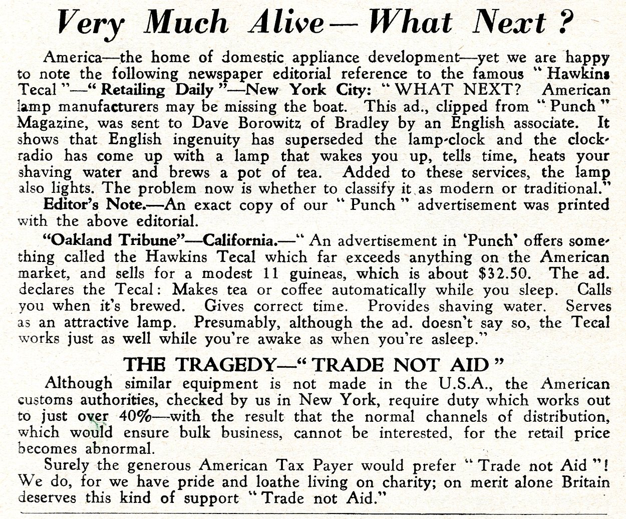 Review of the Hawkins Tecal 1200 in US press March 1953