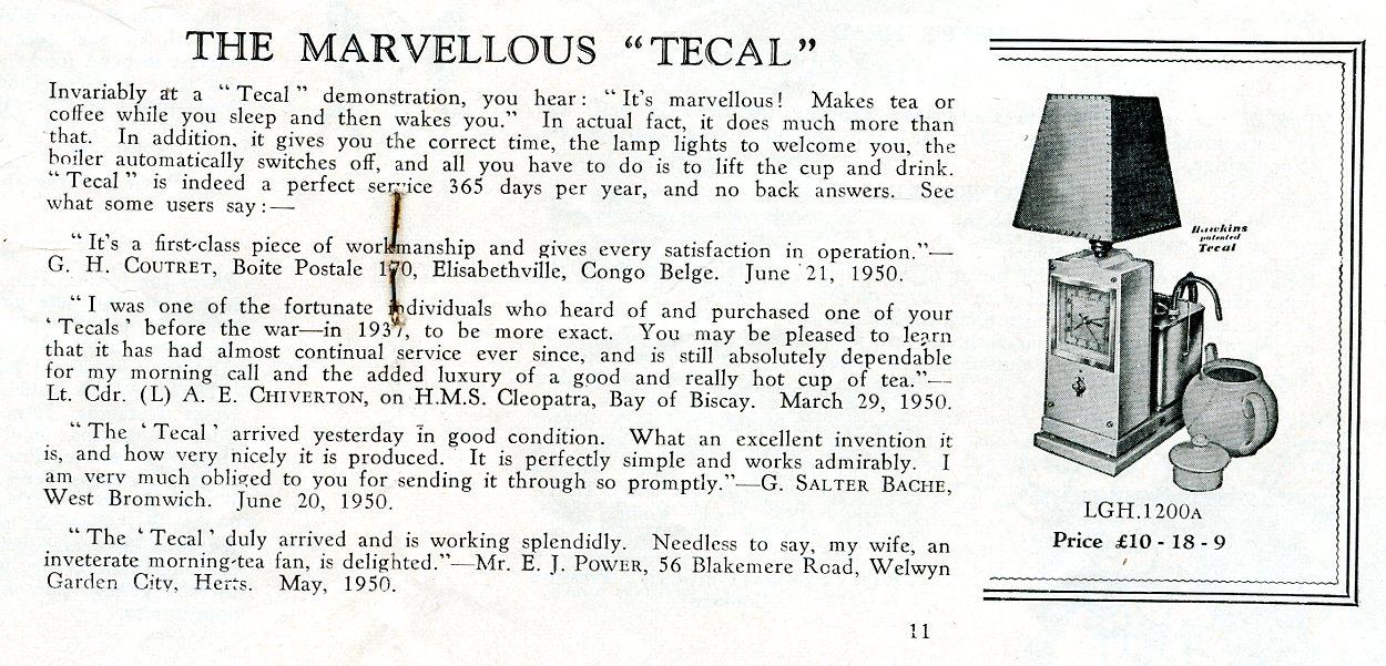 Hawkins Tecal 1200a advert Silver Lining Sept 1950