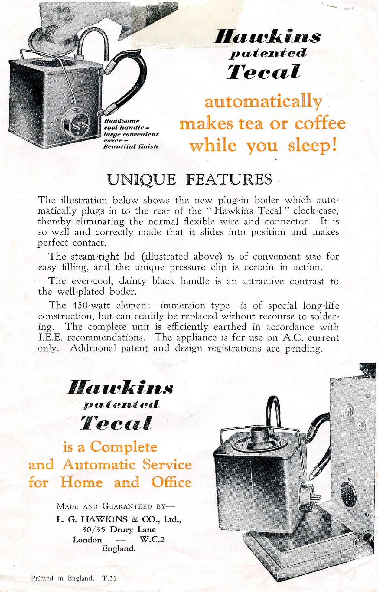 Hawkins Tecal 1200a leaflet reverse