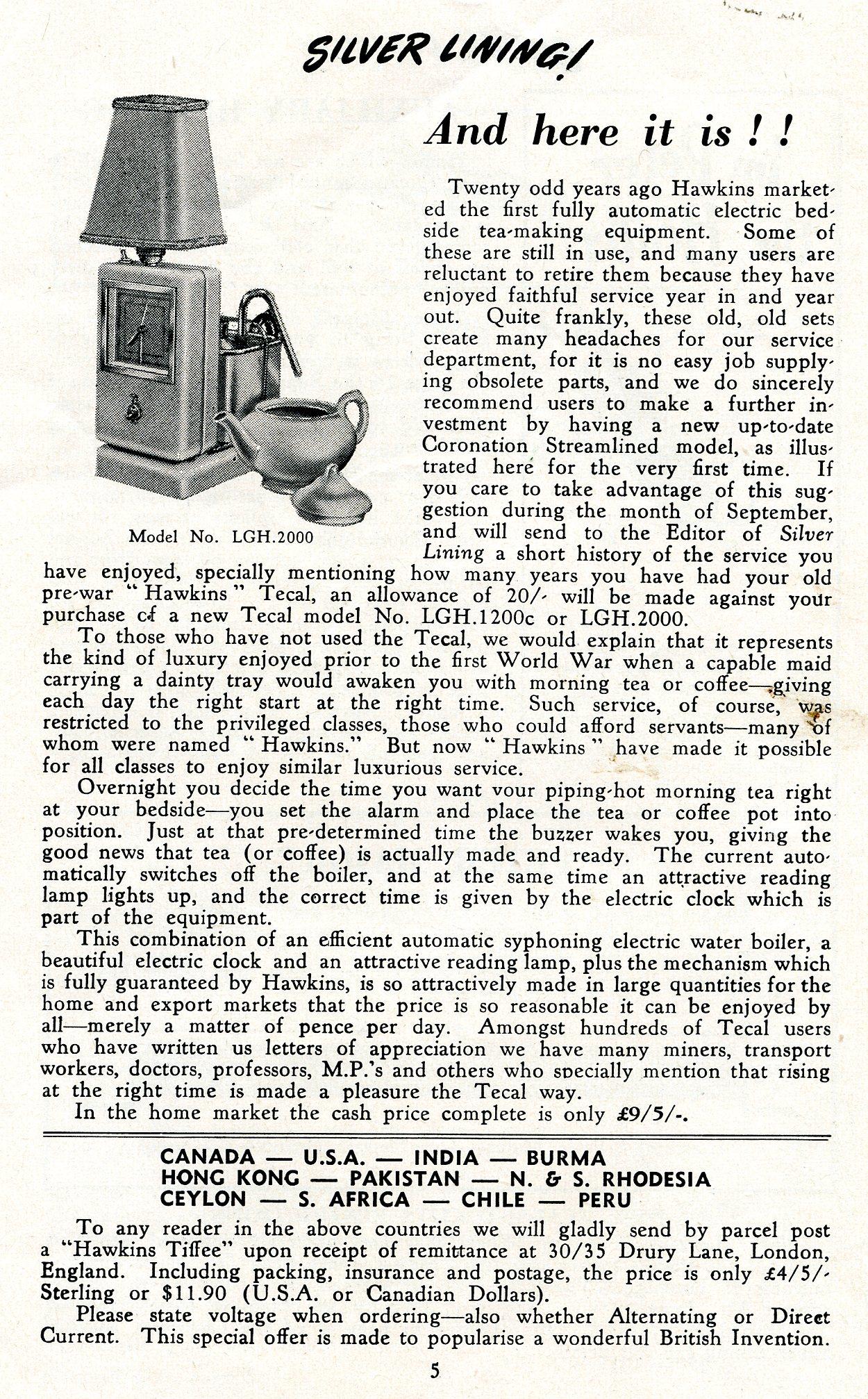 Hawkins Tecal Coronation 2000 advert Silver Lining Sep 1953