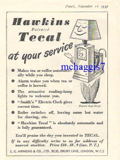 Hawkins Tecal advert 1949