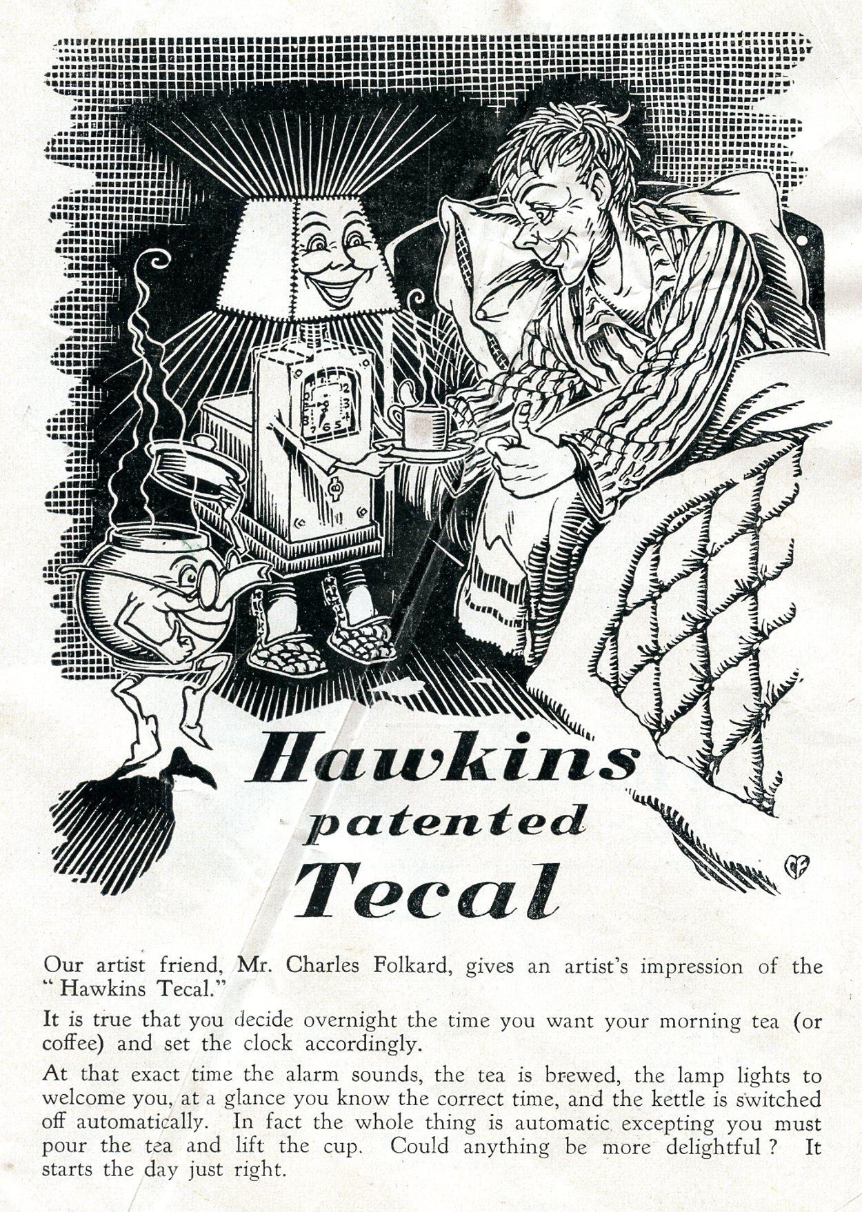 Hawkins Tecal advert Silver Lining March 1950 artists impression by Charles Folkard