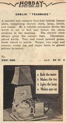Goblin Teasmade advert in Hobday catalogue of 1938