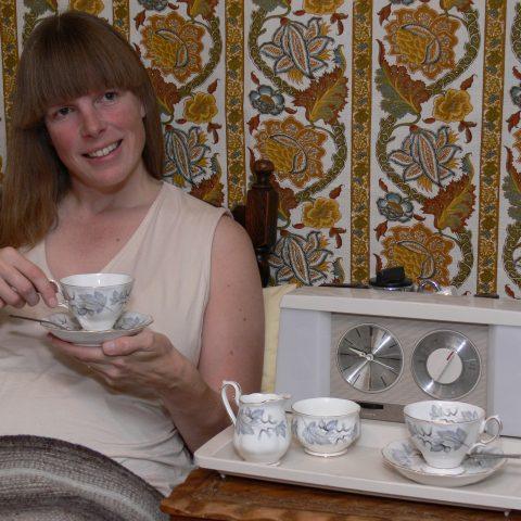 Sheridan posing in the style of Teasmade packaging 2005